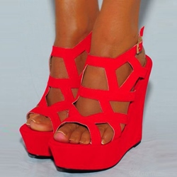 Shoespie Red Cage Wedge Sandals