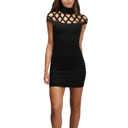 Solid Color Short Sleeve Hollow Bodycon Dress