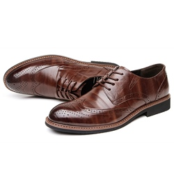 Shoespie Leather Sewing Carved Men's Shoes