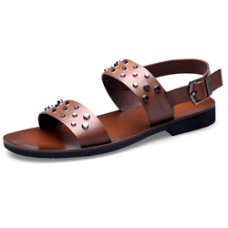 Shoespie Leather Buckle Rivets Men's Sandals