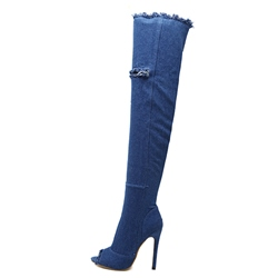 Shoespie Peep ToeHollow Side Zipper Stiletto Heel Knee High Boot