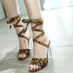 Shoespie Leopard Ankle Wrap Clear Heel Sandals
