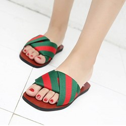 Shoespie Red and Green Stripes Slippers