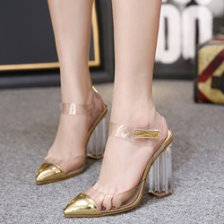 Shoespie Golden Color Illusion Chunky Heel Pumps