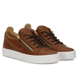 Shoespie Brown Side Zippers Lace Up Low Upper Men's Sneakers