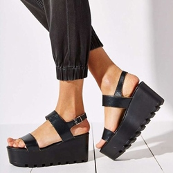 Shoespie Black Open Toe Buckle Platform Sandals