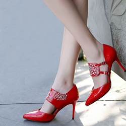 Shoespie Vintage Flower Embroidered Wrap Stiletto Heels