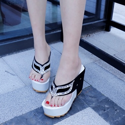 Rhinestone Platform Slip-On Sandals
