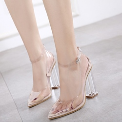 Shoespie Classy All Illusion Pointed Toe Ankle Wrap Pumps