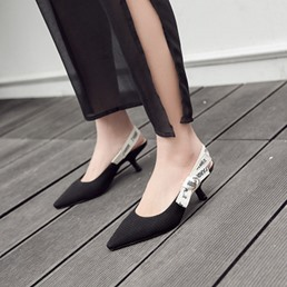 Shoespie Stylish Black Slingback Kitten Heels