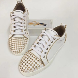 Shoespie White Golden Trim Spikes Men's Fashion Sneakers