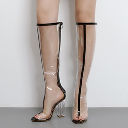 Shoespie Gorgeous Illusion Patchwork Chunky Heel Knee High Boots