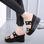 Shoespie Black Stars Wedge Slippers