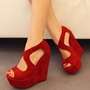 Shoespie Red Peep Toe Platform Wedge Heel