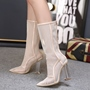 Shoespie Gorgeous Light Apricot Mesh Summer Boots