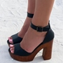 Shoespie Black Wooden Platform Heel Sandals