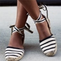 Shoespie Vintage Two Tone Stripes Flats
