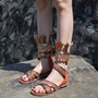 Shoespie Design Armour Crown Cage Gladiator Flat Sandals