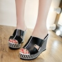 Shoespie Black and White Stripes Wedge Mules
