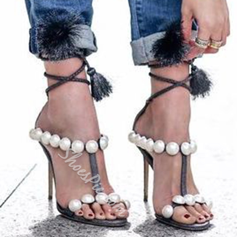 Shoespie Tassel Beads Stiletto Heel Sandals
