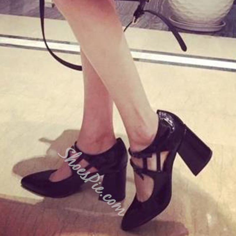 Shoespie Black Patent Chunky Heel Pumps
