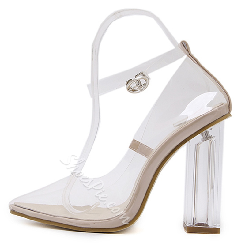 Line-Style Buckle Sexy Jelly High Heels