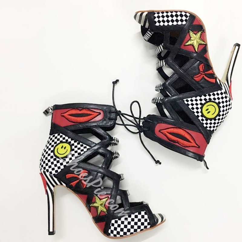 Shoespie Gorgeous Color Block Caged Summer Booties