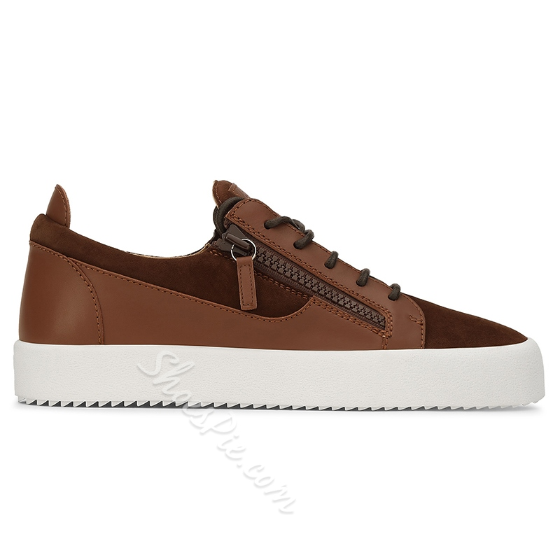 Shoespie Casual Round Toe Zipper Lace-Up Sneaker