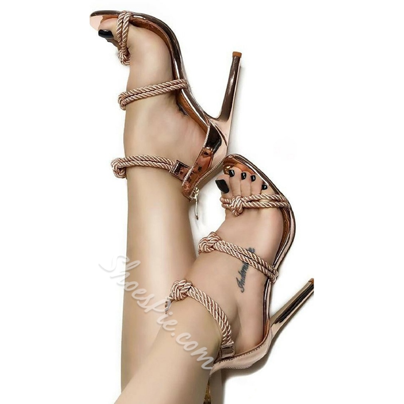 Shoespie Open Toe Ropes and Zippers Stiletto Heel Sandals