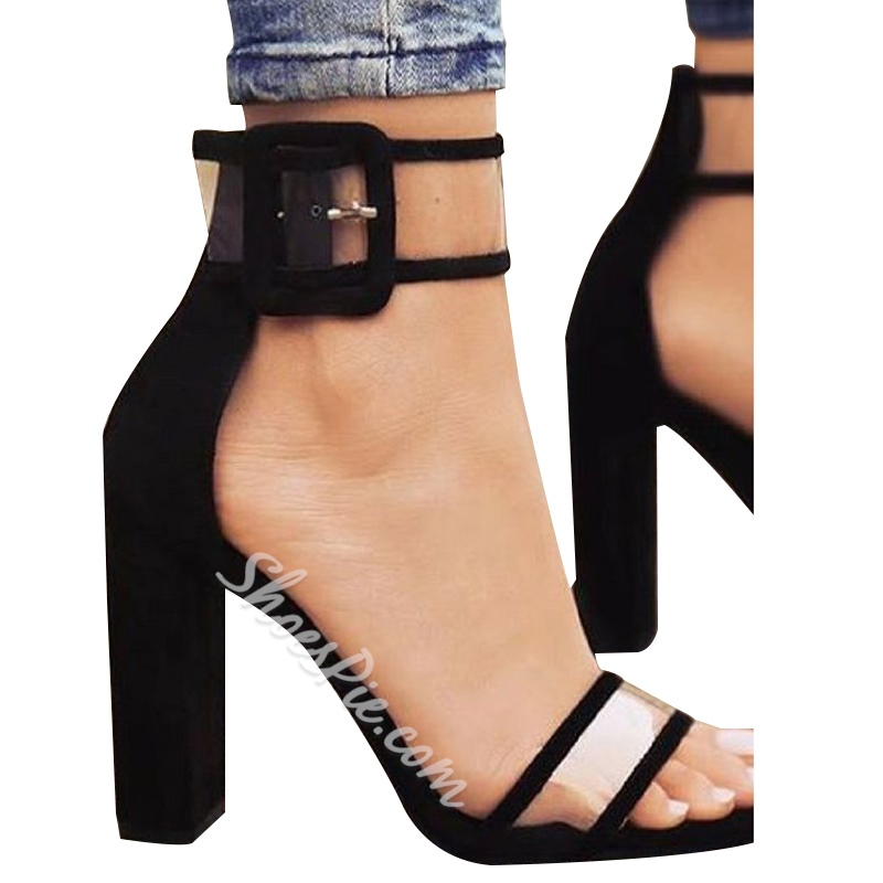 Shoespie Patchwork Line-Style Buckle Chunky Heel Sandals