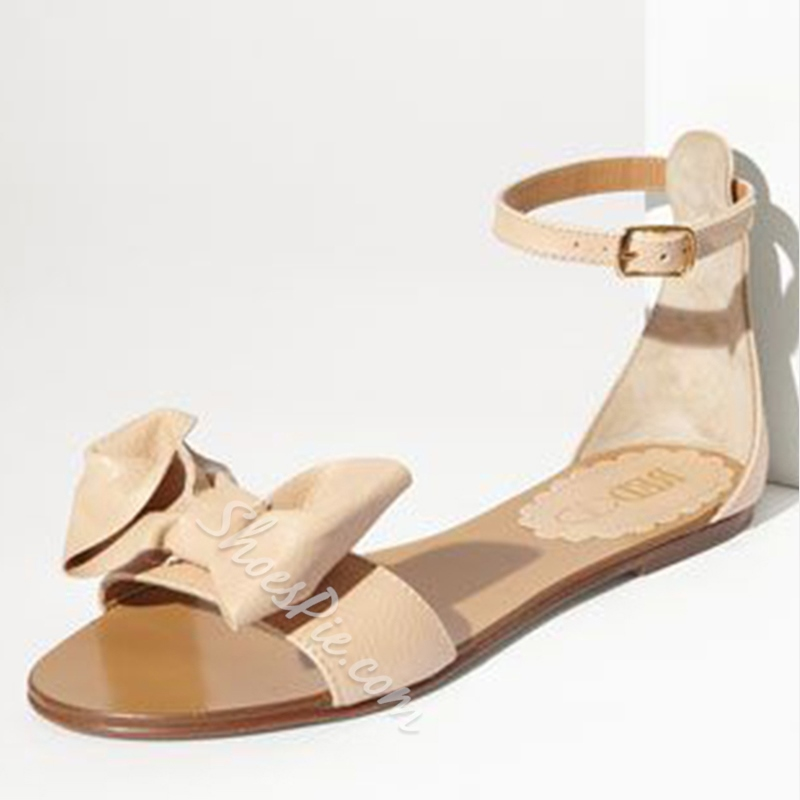 Shoespie Bowtie Heel Covering Flat Sandals