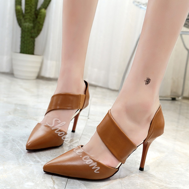 Shoespie Solid Color Wrap Pointed Toe Cheap Heels