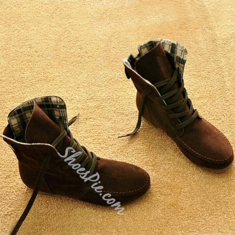 Shoespie Comfortable Lace-up Flat Fall Boots
