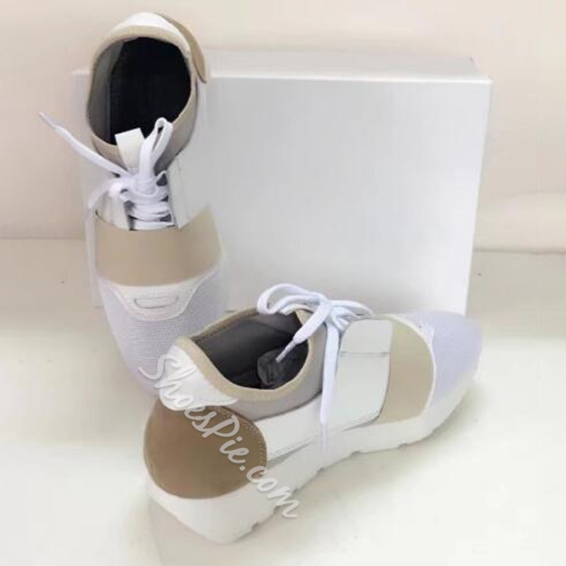 Shoespie Mesh Patchwork Lace Up Sneakers