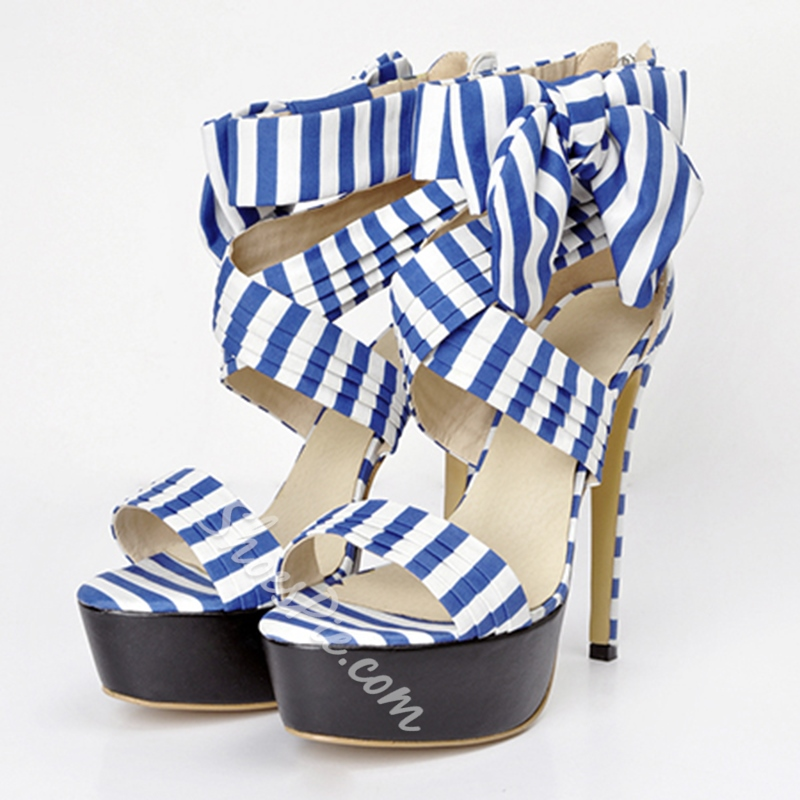Shoespie Blue Stripe Wrap Platform Sandals