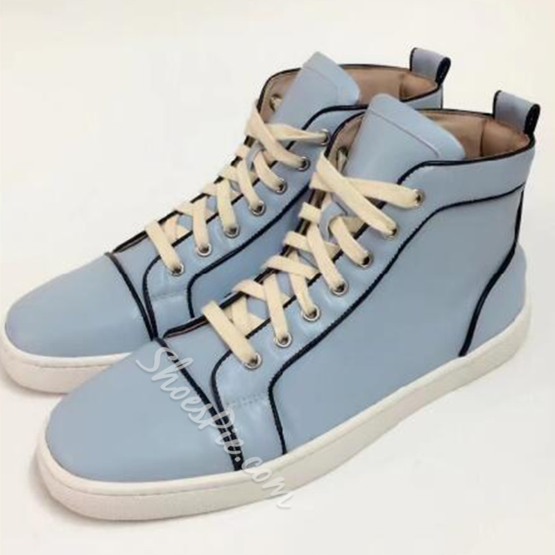 Shoespie Casual Round Toe Color Block Lace-Up Sneaker