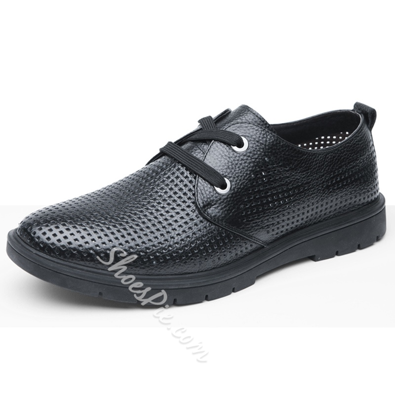 Shoespie Leather Lace-Up Hollow Men's Shoes
