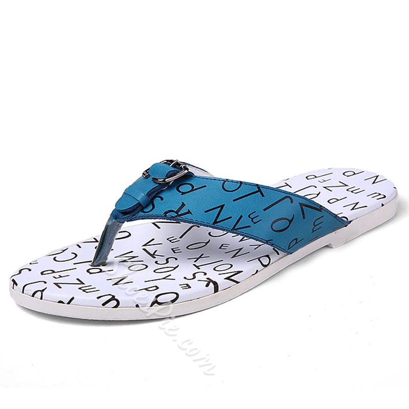 Shoespie Buckles and Letters Decorated Thong Men's Beach Slippers