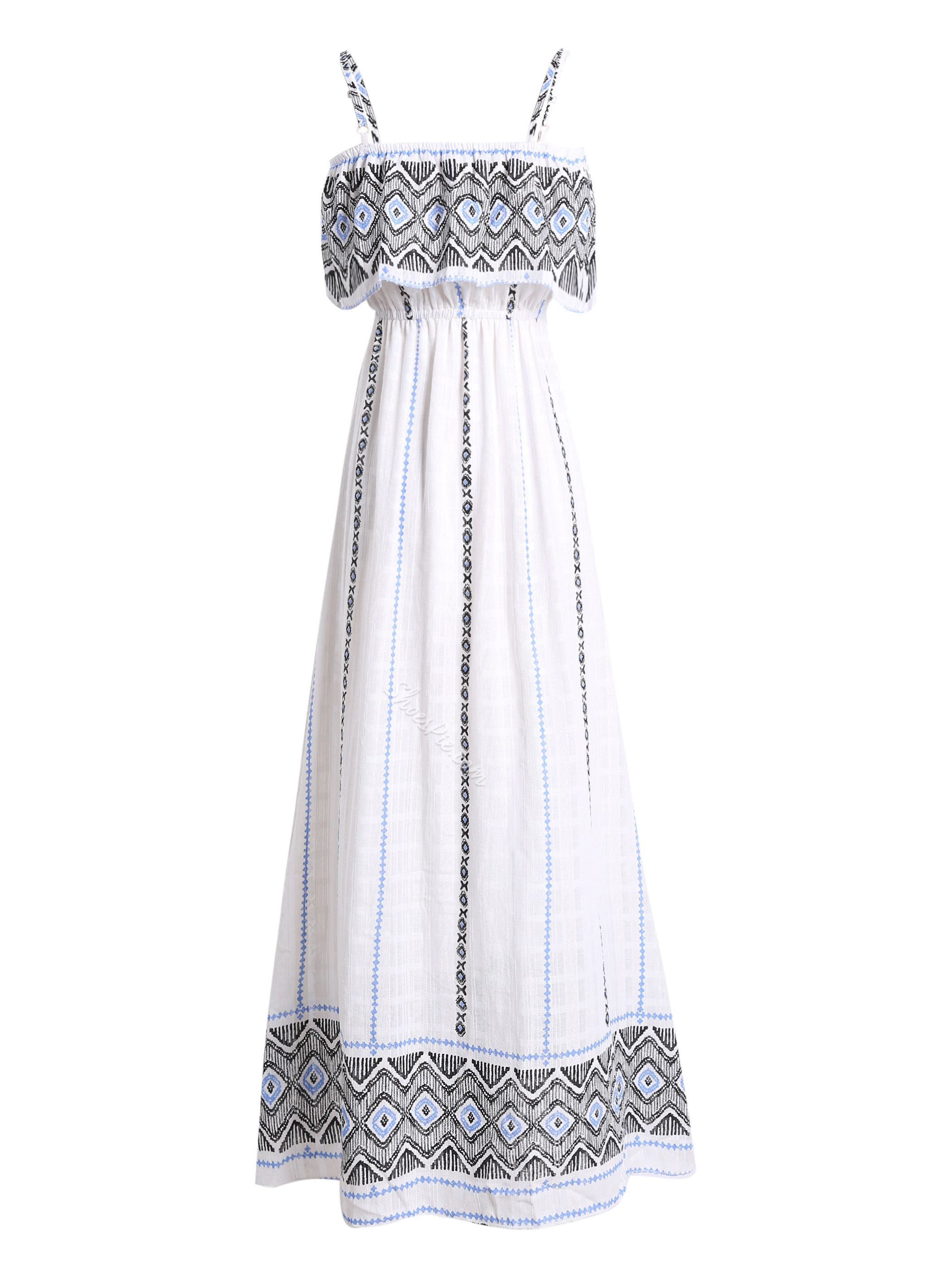 Spaghetti Strap Geometric Pattern Falbala Patchwork Maxi Dress