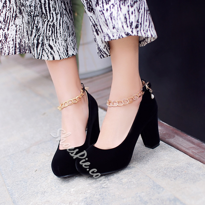 Shoespie Round Toe Chunky Heel Chain Ankle Wrap Pumps