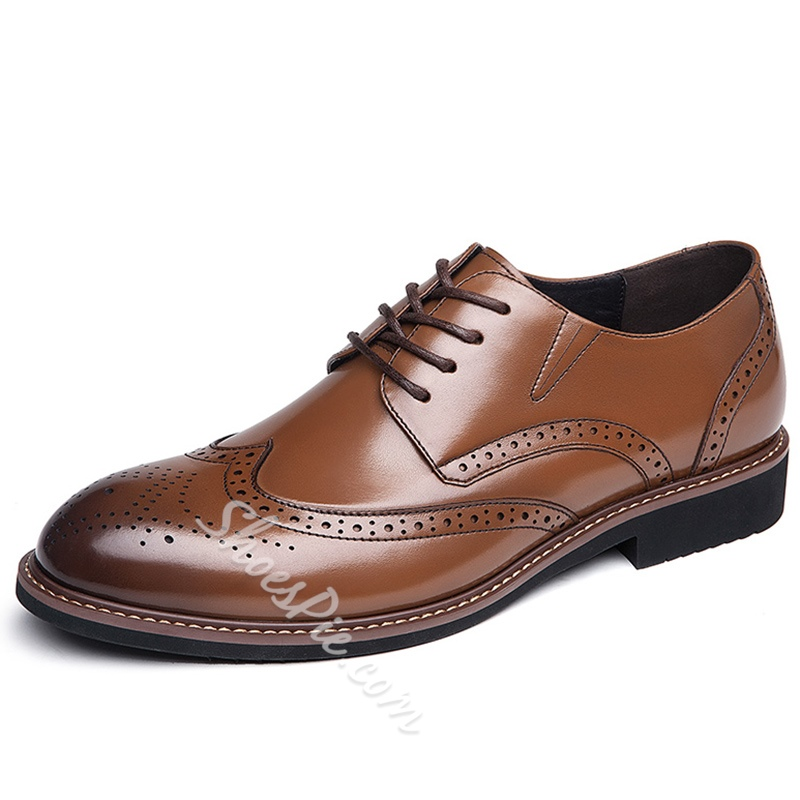 Shoespie Leather Carved Men's Shoes