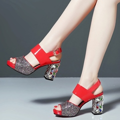 Shoespie Stylish Cutout Chunky Heel Glitter Sandals
