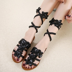 Shoespie Cute Flora Appliques Flat Lace Up Gladiator Sandals