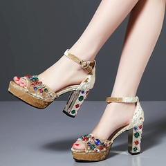 Shoespie Velvet Colorful Rhinestone Ankle Strap Heel Sandals