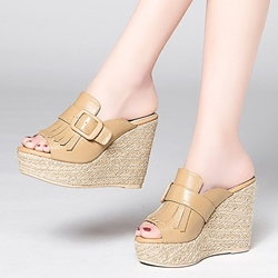 Shoespie High End Buckle Fringe Wedge Mules Shoes