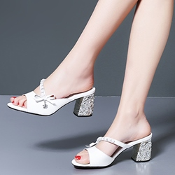 Shoespie Stylish Low Block Heel Glitter Mules
