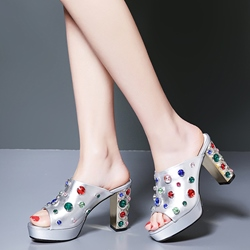 Shoespie Luxurious Multi Color Rhinestones Decorated Mules