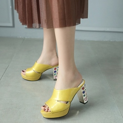 Shoespie Gorgeous Colorful Beads Inlaid Heel Mules