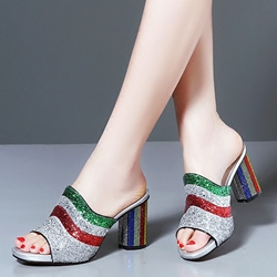 Shoespie Amazing Colorful Stripes Heel Glitter Mules