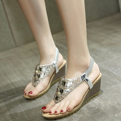 Shoespie Glitter Slip On Low Wedge Thong Sandals
